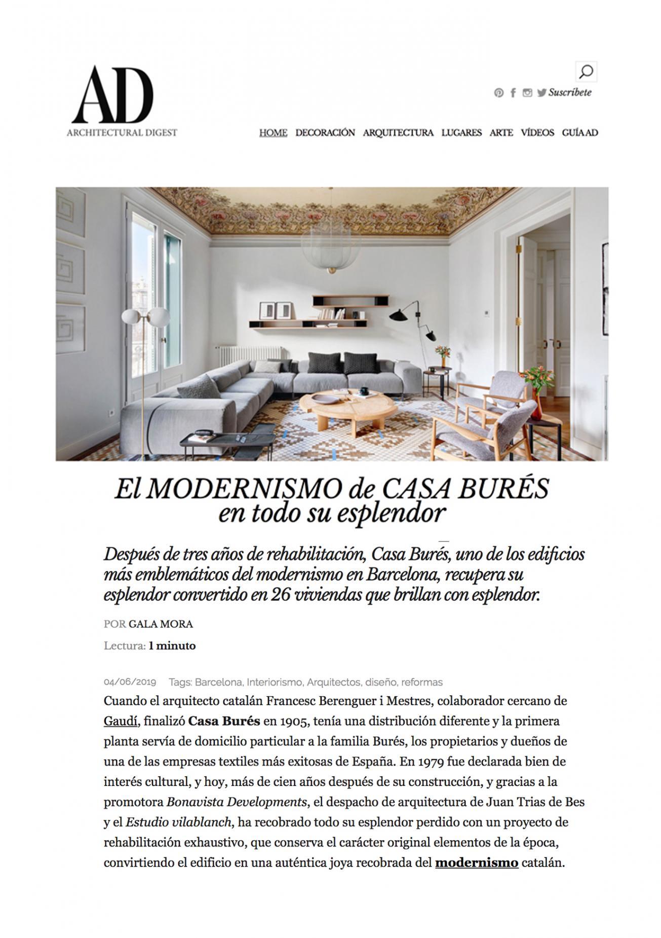AD · Junio 2019 Casa Burés estudio vilablanch