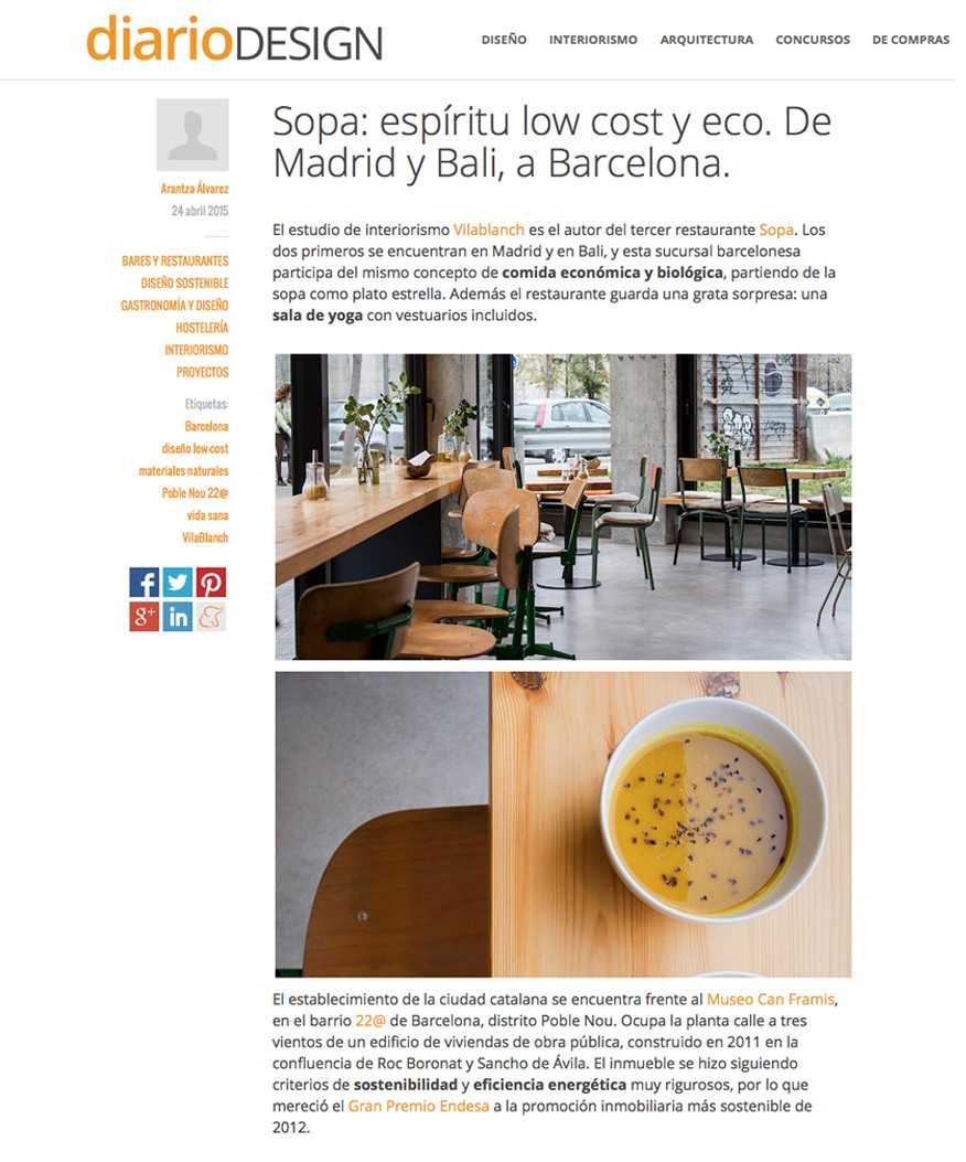 Sopa Restaurant in DiarioDESIGN