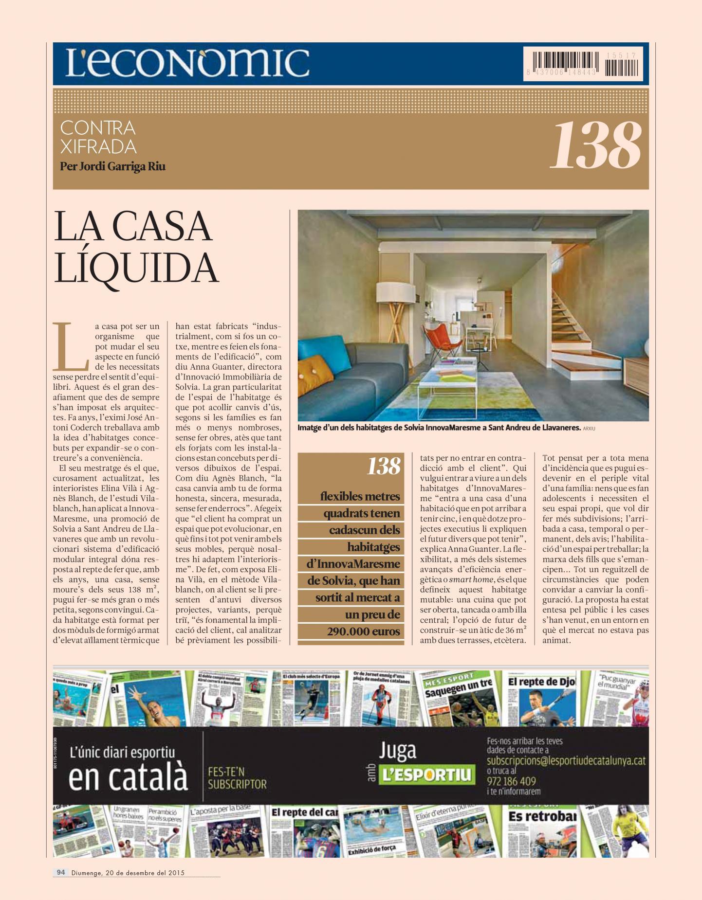 studio vilablanch interior design project Solvia Llavaneras El Punt Avui