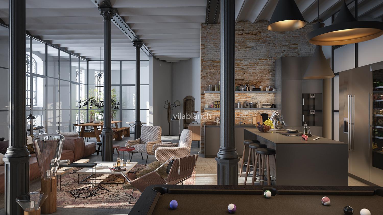 Lofts de la casa bur s proyecto de interiorismo vilablanch estudio de arquitectura interior - Interiorismo barcelona ...
