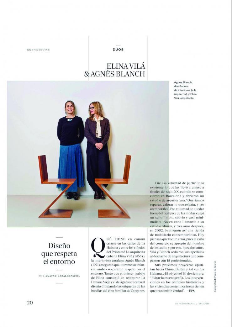 Estudio vilablanch en Duos El País Semanal
