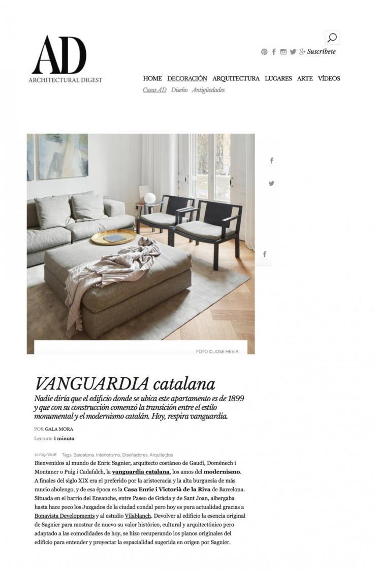 Proyecto vilablanch edificio sagnier barcelona en revista AD