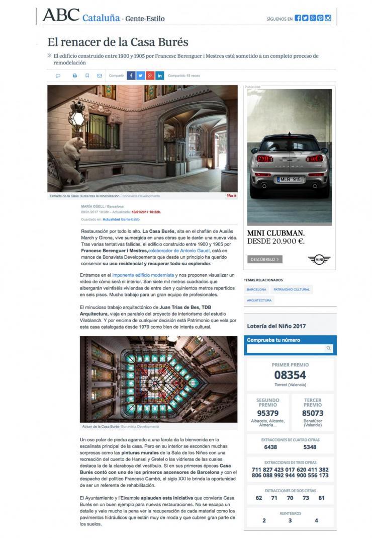 vilablanch proyecto Casa Burés en ABC